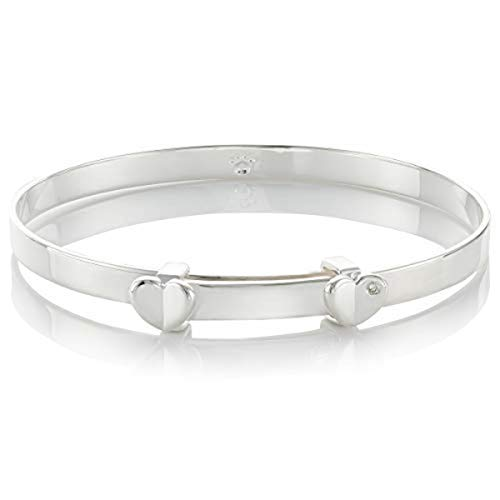 - Molly B London | 925 Sterling Silver Baby's Adored Diamond Heart Baptism Bangle