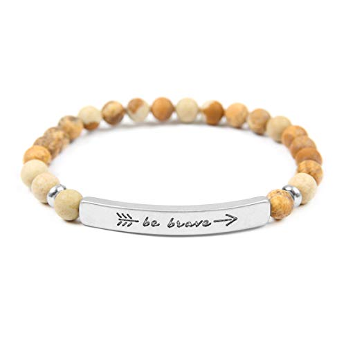 (RIAH FASHION Inspirational Bar Natural Stone Stretch Prayer Bracelet - Christian Religious Message Adjustable Cuff Bangle Amazing Grace/Blessed/Faith/Love/Hope/Bible (Be Brave - Brown Jasper/Silver))