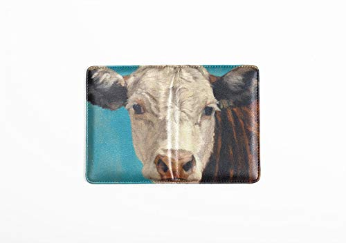 (Passport Case Leather White Face Calf On Blue Hereford Passport Waterproof Cover Multi Purpose Print Passport Covers For Women Travel Wallets For Unisex 5.51x4.37 Inch)