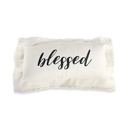 Mud Pie Blessed Frayed Edge Lumbar Accent Pillow White [並行輸入品] B07RCFK875