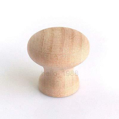 FidgetGear 20pcs 25mm No Paint Wooden Cabinet Knob Cupboard Closet Box Drawer Pull Handle