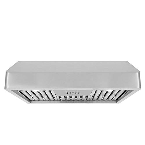 Cosmo QB75 30 in Under-Cabinet Range Hood 900-CFM Ducted Ductless Convertible Duct, Kitchen Over Stove Vent with LED Light, 3 Speed Exhaust Fan, Permanent Reusable Filter Stainless Steel