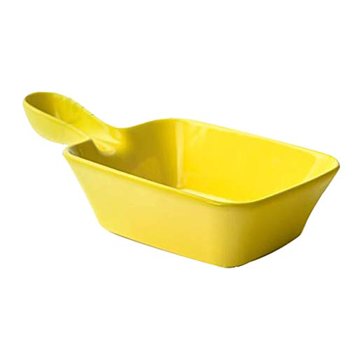 HUYYA Breakfast Bowl with Handles, Soup Bowls/Crocks Japanese Style Soup Noodle Salad/Bowl Ceramic,Yellow