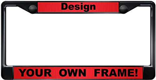 Custom Personalized Black Metal Car License Plate Frame with Free caps - Red/Black