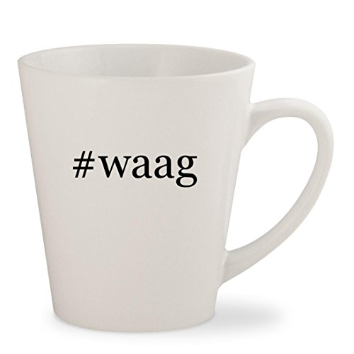 #waag - White Hashtag 12oz Ceramic Latte Mug (04 Waag Grille Guard)