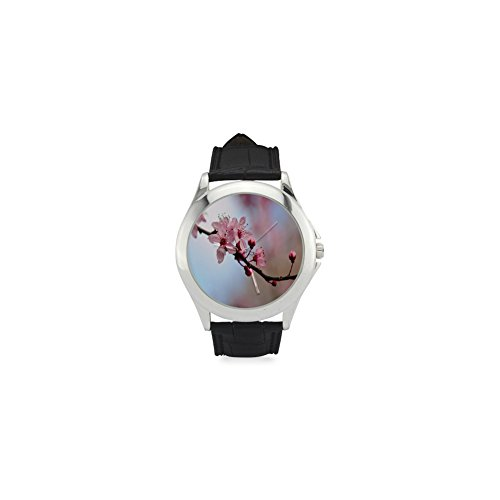 (Mother's Day Gift Beautiful Cherry Blossom Tree Women's Leather Strap Watch )