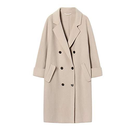 Botonadura Invierno Mediana De Acolchada Apricot Chaqueta Y Lana Qscg Doble Abrigo Otoño Mujer Larga Floja pxOHY4