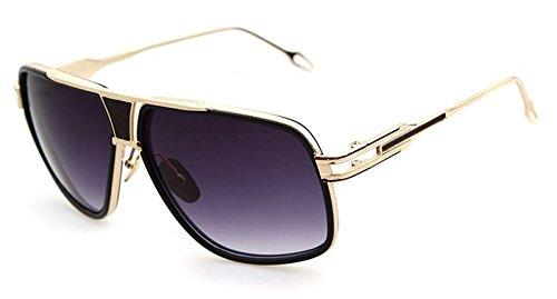 496c8e2baa Flowertree STY823 Metal Frame Plastic Inset Flat Top Cutout Aviator  Sunglasses (C7-black+