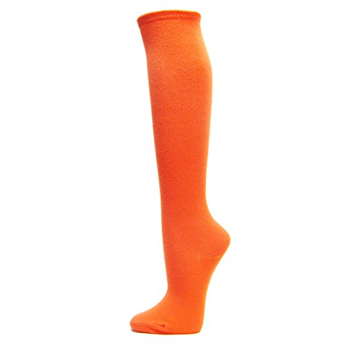 Couver Unisex Fashion/Casual Soft Cotton Knee High Socks (1 Pair) - Light Orange -
