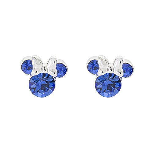 Disney Women's Jewelry Minnie Mouse Silver Plated Brass September Birthstone Stud Earrings Mickey's 90th Birthday Anniversary by Disney