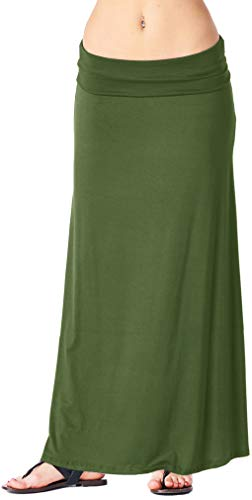 Popana Womens Casual Long Convertible Print Maxi Skirt Plus Size - Made in USA Olive Small