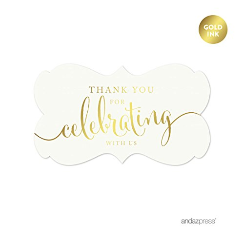 Andaz Press Fancy Frame Rectangular Label Stickers, Thank You for Celebrating With Us, Metallic Gold Ink, 36-Pack