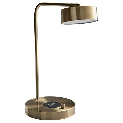 Adesso Round Table Lamp - Stone & Beam Modern Wireless Charging Round Task Lamp With Integrated LED Light - 7.5 x 10 x 18.5 Inch, Antique Brass