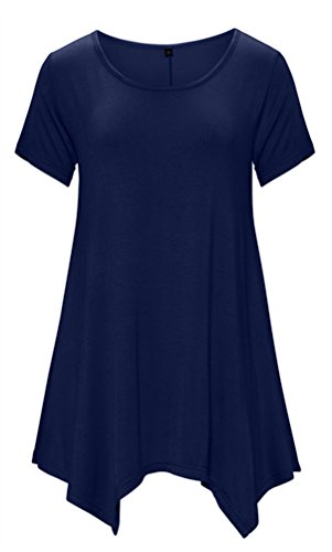 DB MOON Womens Tunic Tops Short Sleeve T Shirts Dress ( S-XXXL ) – Small, Db06 Navy Blue