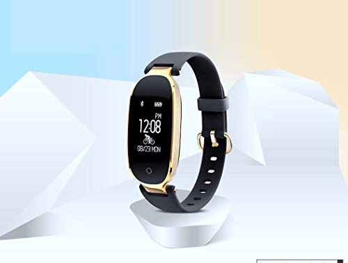 Women Fitness Tracker – Lady Smartwatch Pedometer Sleep Monitor Heart Rate Activity Monitor Smart Bracelet – Bluetooth Touch Screen Wristband Compatible Android iOS Black Gold For Sale