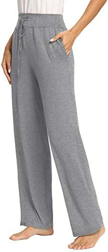 PACBREEZE Women's Loose Yoga Pajama Pants Wide Straight-Leg Casual Workout Running Sporting Active Pants with Pockets 2