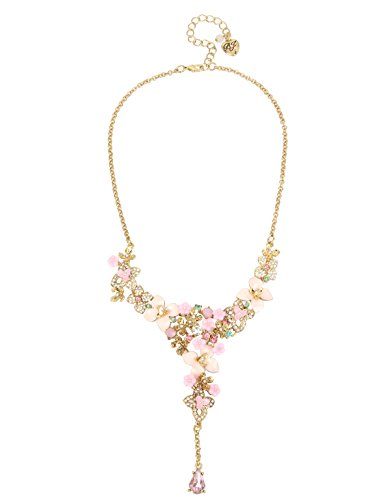 Betsey Johnson Marie Antoinette Pave Mixed Flower Y-Shaped Necklace, 16