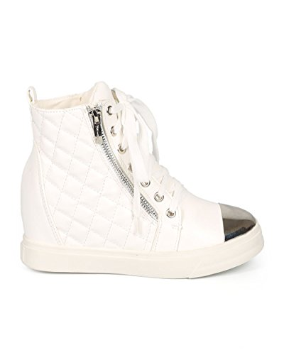 Nature Breeze CH89 Women Quilted Leatherette Cap Toe High Top Wedge Sneaker - White White Leatherette QfIZ6vQfD