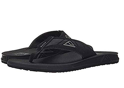 Reef Phantom Mens Sandals | Flip Flops for Men with Cushion Bounce Footbed | Waterproof (10 M US, Black, Grey Logo) ()