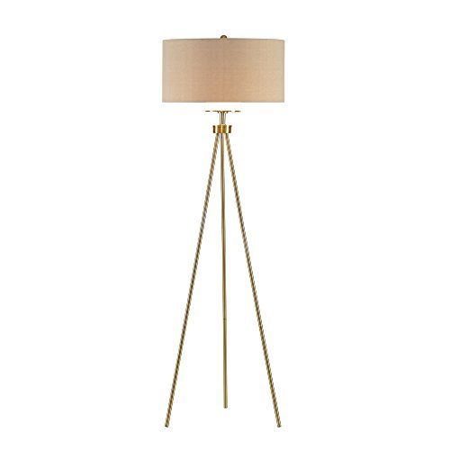 (Modern Tripod Floor Lamp with Gold Metal Base and White Linen Fabric Shade - Includes Modhaus Living Pen)