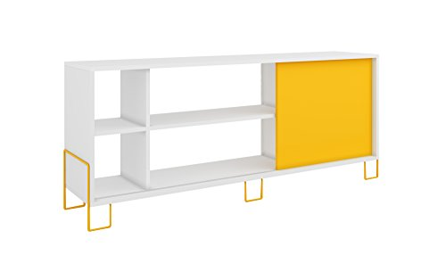 Manhattan Comfort Nacka TV Stand 2.0 Collection Modern Free Standing Flat Screen TV Stand with Storage Compartments Includes 5 Shelves and 1 Sliding Door, White Frame with Yellow Door and Base (Mendocino Table)