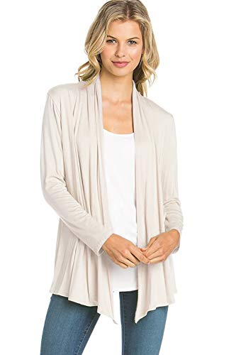12 Ami Basic Long Sleeve Open Front Cardigan Cream M