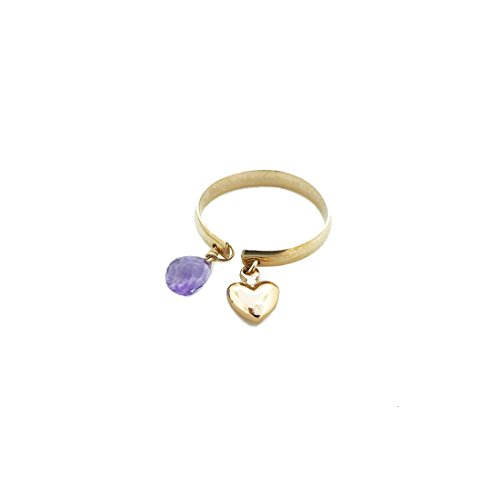 14K Gold Filled Amethyst Ring, Gemstone Heart Charm Dangle Ring (Heart Briolette Charm)