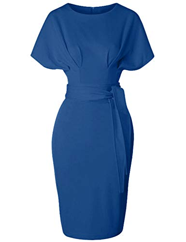 GownTown Women's 50s 60s Vintage Sexy Fitted Office Pencil Dress Blue ()
