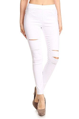 Knit Distressed (Jvini Women's Ultra Soft Stretch Pull-On Skinny Jean Jegging Pants (Small, White))