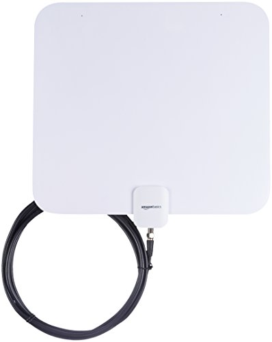 AmazonBasics Indoor Flat TV Antenna - 35-Mile Range (Best Antenna For Non Cable Tv)