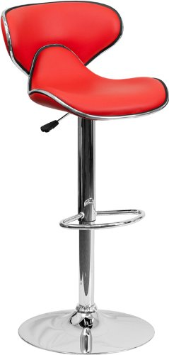 2 Pk. Contemporary Cozy Mid-Back Red Vinyl Adjustable Height Bar Stool with Chrome Base price