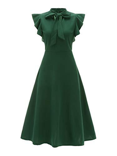 Verdusa Women's Elegant Ruffle Trim Tie Neck Flutter Sleeve A-Line Dress Green L - Flutter Sleeve Flare Dress