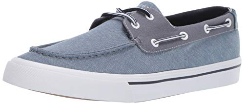Tommy Hilfiger Men's Pharis Boat Shoe, Dark Blue Chambray, 11 M US