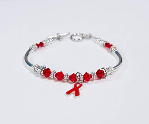 Red Ribbon Awareness Charm Bracelet: Heart Disease, AIDS, HIV, RSD, Evans Syndrome, Tuberculosis, Von Willebrand's, Poland & Marfan Syndrome. #01