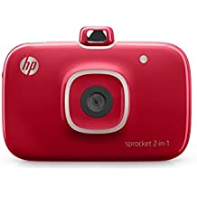 """HP 2FB98A#B1H Sprocket 2-in-1 Portable Photo Printer & Instant Camera, print social media photos on 2x3"""" sticky-backed paper - Red (2FB98A)"""