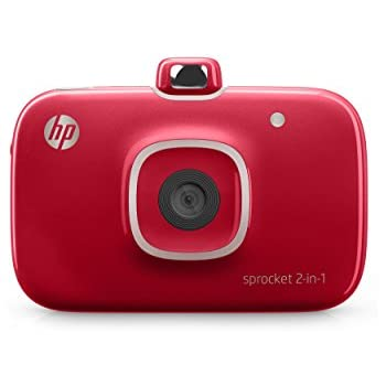 "HP 2FB98A#B1H Sprocket 2-in-1 Portable Photo Printer & Instant Camera, print social media photos on 2x3"" sticky-backed paper - Red (2FB98A) (2FB96A#742)"
