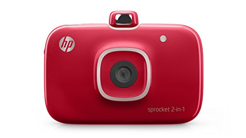 HP 2FB98A#B1H Sprocket 2-in-1 Portable Photo Printer & Instant Camera, print social media photos on 2×3″ sticky-backed paper – Red (2FB98A) (2FB96A#742)