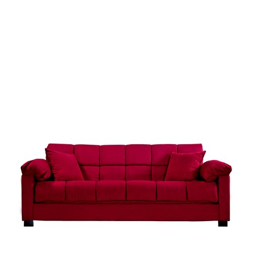 Handy Living Maurice Pillow Top Arm Convert-a-Couch in Crimson Microfiber (Top Futon)