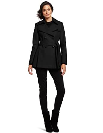 Via Spiga Women's Double Breasted Wool Trench Coat With Pleated Back, Black, 12