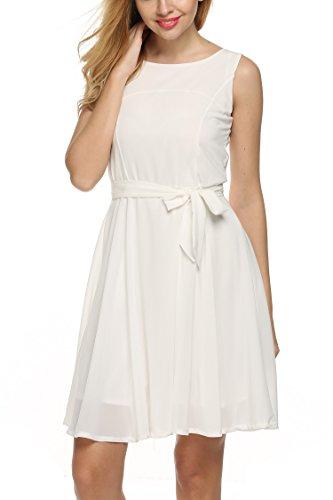 Zeagoo mujer verano gasa a-line sin mangas plisado partido cóctel vestido con cinturón Blanco