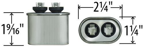 27L570 5 uF MFD x 370 VAC Genteq Replacement Capacitor Oval # C305L Carrier P291-0503