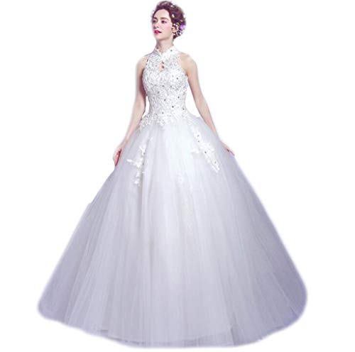 DAFREW Bridal Wedding lace Stand Collar Backless Beaded Backless Qi Wedding Dress Host Dinner Dress Bridesmaid Dress White (Color : White, Size : XXXL) ()