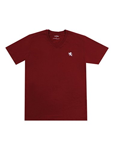 Express Men's Classic Fit V-Neck Small Lion T-Shirt (X-Large, Crimson)