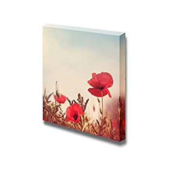 Canvas Prints Wall Art - Vintage Style Poppy Flowers | Modern Wall Decor/Home Art Stretched Gallery Canvas Wraps Giclee Print & Ready to Hang - 12