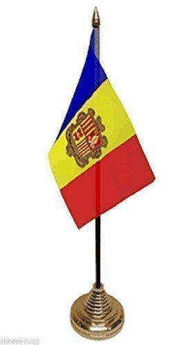 Andorra poliester bandera de mesa de 15,24 cm x cm 10,16 + Base de ...