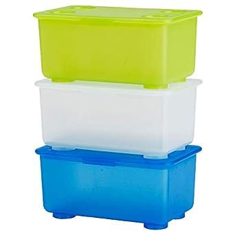 Ikea 5054186141243 Lot De 3 Boîtes Avec Couvercle Plastique