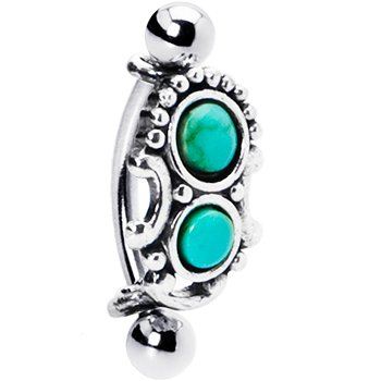 Body Candy Silver 925 Top Down Southwest Greenish Blue Eyebrow Ring