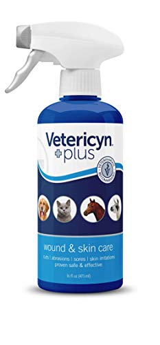 Vetericyn Plus All Animal Wound and Skin Care. Spray to Clean Cuts and Wounds. Itch, Soreness and Irritation Relief. No Stinging or Burning. For Cats, Dogs, Livestock and More (16 ounce)