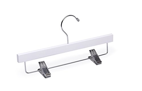 Child/Baby White Bottom with Clips Wooden Hanger by WoodenHangersDirect