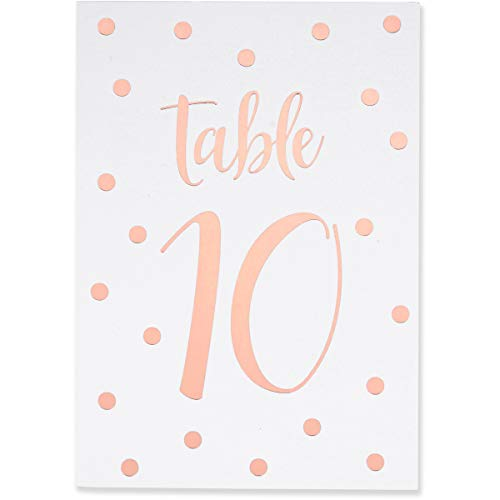 Sweetzer & Orange Rose Gold Table Numbers for Wedding 1 to 40 Polka Dot Table Number Cards for Weddings, Bar Mitzvah, Quinceanera Decorations, Restaurant and More! Premium Paper Table Numbers
